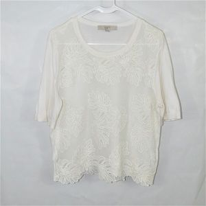 Loft Palm Embroidered Short Sleeve Sweater B28
